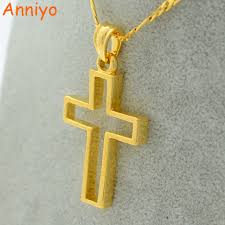 catholic crucifix anniyo gold color cross necklace for women men jesus crucifix
