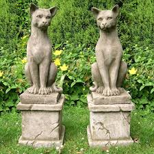pair of majestic cats garden statues