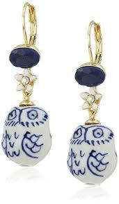 drop earring betsey johnson betsey blues ceramic owl drop earring
