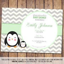 penguin baby shower chevron baby shower invitation penguin baby shower invitation