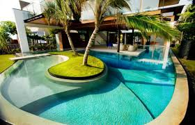 Stylish House by Swimming Pool Design Infinity Edge Perimeter Overflow Newest