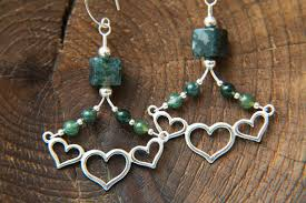 Chandelier Earrings Unique Chandelier Earrings Amare Earth Sterling Silver Moss Agate Gemstone Heart Moon