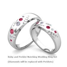 his and hers white gold wedding rings ruby and peridot matching wedding bands in 14k white gold