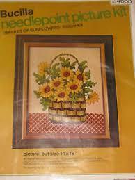 vintage bucilla needlepoint kit basket of sunflowers 4668 14 x18