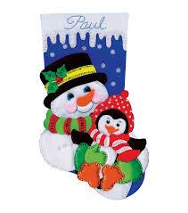 Stocking Snowman And Penguin Stocking Felt Applique Kit 18