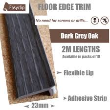 Laminate Floor Trims Dark Grey Oak Floor Edge Adhesive Trim 10 X 2mtr Lengths Bridge