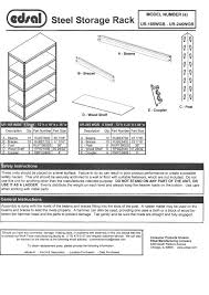 Edsal Shelving Parts by Edsal Ur 245wgb Instructions Assembly