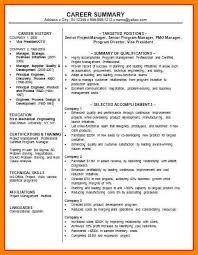 sample career summary 9 career summary letter adress