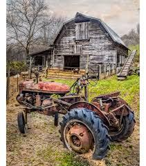 Tractor Barn Novelty Cotton Fabric Panel 44