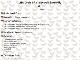 life cycle of a monarch butterfly 2nd 5th grade lesson plan