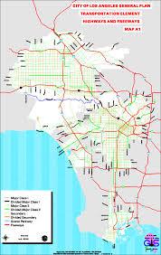 La City Map City Of Los Angeles General Plan Transportation Element Highways