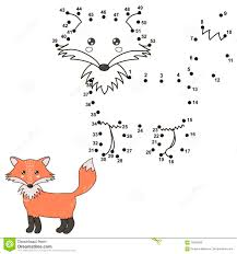 connect the dots to draw a cute fox and color it stock vector