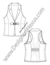 notched collar vest with back smocking v11 flat fashion sketch