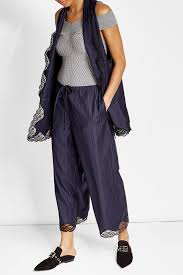 alexander wang pinstriped virgin wool vest with lace blue women