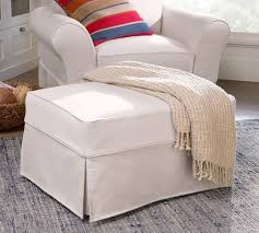 Slipcover Chair And Ottoman Pb Comfort Slipcovered Ottoman Pottery Barn