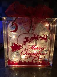 Lighted Christmas Glass Block Decoration by SCoopersCreations