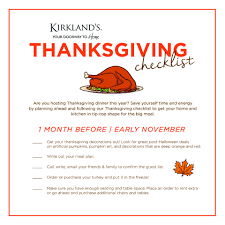 thanksgiving checklist my kirklands