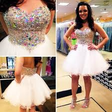 white 8th grade graduation dresses white homecoming dresses 2016 colorful rhinestones