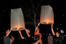 luck lanterns chiang mai thailand lighting paper lanterns editorial image
