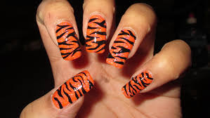 freehand tiger stripes nail art tutorial youtube