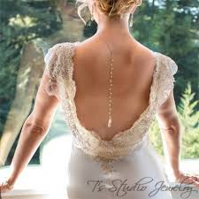 back necklace gold images White ivory pearl gold back drop lariat style bridal necklace backdrop jpg
