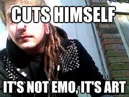 Jesus Crust Meme - cuts himself it s not emo it s art conceited crust punk quickmeme