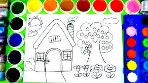 how to draw house big apple tree coloring page with watercolor