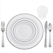 silver wedding plates table settings for 75 plates cups cutlery