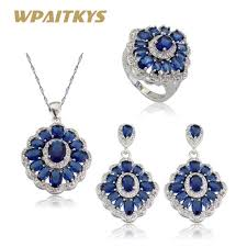 blue stones necklace images Wpaitkys flower blue stones white cz silver color jewelry sets for jpg