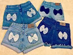 pattern jeans tumblr high waisted denim shorts bow shorts custom made denim jean shorts