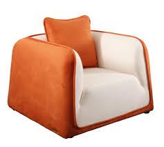 Fauteuille Moderne by Fauteuil Moderne Blanc Et Orange En Microfibre Italia Miliboo