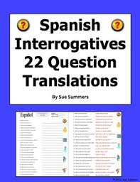 interrogatives words sentences spanish questions words worksheet
