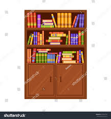 brown wooden vector bookcase many books stock vector 451587769