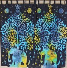 indian curtains cotton print window treatments sari sheer panels