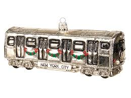 new york city subway car blown glass ornament
