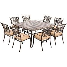 square dining table 60 amazon com hanover traditions 9 piece square dining set with