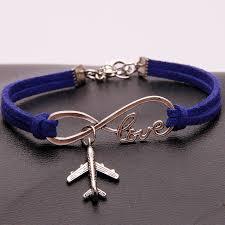 charm bracelet infinity images 12pcs lot infinity love aircraft charm bracelet velvet plane jpg
