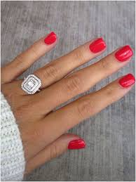 engagement ring cajun shrimp nails red nails emerald cut