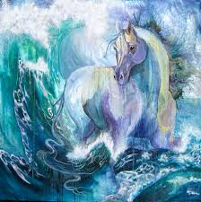horse in aqua and lilac seafoam and crashing wave painting the