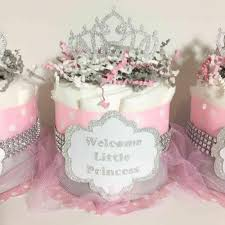 pink and gray princess mini diaper cake centerpieces chic baby cakes
