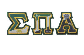 sigma pi alpha flag letters with metallic gold and green