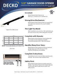 Garage Door Assembly by Decko 24000 1 2 Horse Power Chain Garage Door Opener Building
