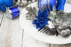 Christmas Table Decorations Blue And Silver by Table Set Christmas Dinner Decoration Blue Silver Stock Photos