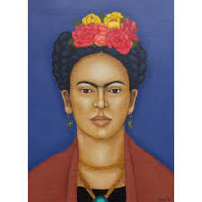 frida kahlo folk art print of acrylic painting mexican