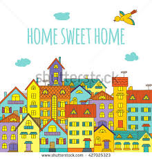 home sweet home handpainted multicolored houses stock illustration