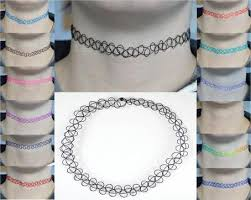 tattoo chokers necklace images Vintage stretch tattoo choker necklace retro henna black purple jpg