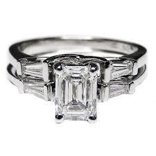 emerald cut wedding set engagement ring bridal set emerald cut diamond trellis