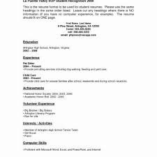 high school student resume exle sle resume no work experience high school students best of