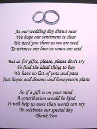 wedding gift list poems 20 wedding poems asking for money gifts not presents ref no 4 in