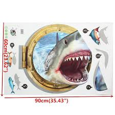 3d 60x90cm diy shark porthole mural decal sea wall art